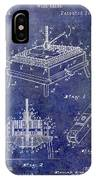 1894 Wine Press Patent Blue IPhone Case