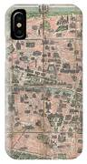 1900 Garnier Pocket Map Or Plan Of Paris France  Eiffel Tower And Other Monuments  IPhone Case