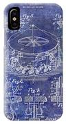 1916 Merry Go Round Patent Blue IPhone Case
