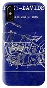 1928 Harley Davidson Patent Drawing Blue IPhone Case