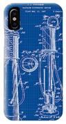 1930 Gas Pump Patent In Blue Print IPhone Case