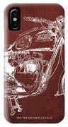 1963 Triumph Bonneville, Blueprint Red Background IPhone Case