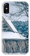 Fresh Snow Sits On The Ground Around An Old Barn IPhone Case