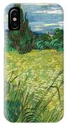Green Wheat Field With Cypress IPhone Case