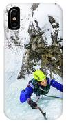 Ice Climbers On A Route Called Professor Falls Rated Wi4 In Banf IPhone Case