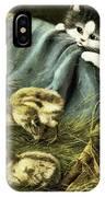 Kitten Peeking In On Chicks IPhone Case