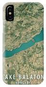 Lake Balaton 3d Render Satellite View Topographic Map IPhone Case