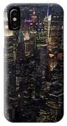 Midtown West Manhattan Skyline Aerial At Night IPhone Case