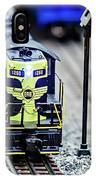 Miniature Toy Model Train Locomotives On Display IPhone Case