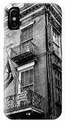 2 Story Building New Orleans Black White  IPhone Case