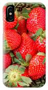 Strawberries In A Wooden Bowl On The Old Wooden Table IPhone Case