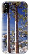 211257 Snow On Tree Sides Lake Tahoe IPhone Case