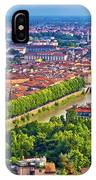 City Of Verona Old Center And Adige River Aerial Panoramic View IPhone Case