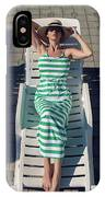 Girl Lies On A Chaise Longue In A Green Striped Dress IPhone Case