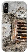 Old Rusty Street Grate Near The Sea In Cres IPhone Case