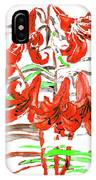 Red Lilies, Hand Drawn Painting IPhone Case