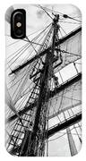 Vintage Style Picture Of Beautiful Sail Boat Details. Rope, Hull IPhone Case