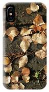 Silver Birch Leaves Lying On A Brick Path In A Cheshire Garden On An Autumn Day   England IPhone Case