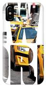 Yellow Cab Speeds Through Times Square In New York, Ny, Usa.  IPhone Case