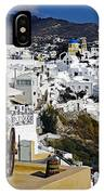 Cliff Perched Houses In The Town Of Oia On The Greek Island Of Santorini Greece IPhone Case