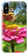 A Butterfly On The Pink Zinnia IPhone Case