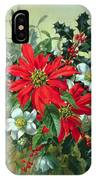 A Christmas Arrangement With Holly Mistletoe And Other Winter Flowers IPhone Case