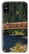 A Hiker Crosses A Bridge IPhone Case