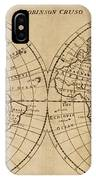 A Map Of The World With The Voyage Of Robinson Crusoe IPhone Case