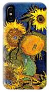 A Modern Look At Vincent's Vase With 5 Sunflowers IPhone Case