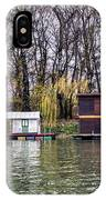 A Raft Houses Moored To The Shoreline Of Ada Medjica Islet IPhone Case