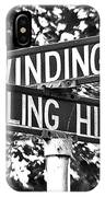 Wi - A Street Sign Named Winding Way And Rolling Hill IPhone Case