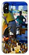 A Vendor At The Garlic Fest Offers Garlic Vinegar And Olive Oil For Sale IPhone Case