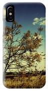 A Yellow Tree In A Middle Of A Dry Field - Wide Angle IPhone Case