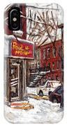 Rue De Pointe St Charles En Hiver Scenes De Rue De Montreal Peinture Originale A Vendre Paul Patates IPhone Case