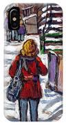En Route Vers L'ecole Escaliers De Montreal Scenes De Ville Peintures A Vendre IPhone Case