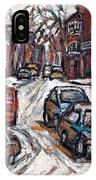 Ville Emard En Peinture Scenes De Ville De Montreal En Hiver Petit Format A Vendre IPhone Case