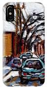Plateau Mont Royal Scenes De Rue De Montreal En Hiver Rue Napoleon Petit Format A Vendre IPhone Case
