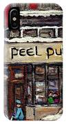 Rue Peel Montreal En Hiver Parie De Hockey De Rue Peel Pub IPhone Case