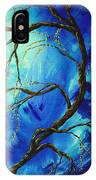 Abstract Art Asian Blossoms Original Landscape Painting Blue Veil By Madart IPhone Case