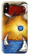 Abstract Art Contemporary Coastal Cityscape 3 Of 3 Capturing The Heart Of The City I By Madart IPhone Case