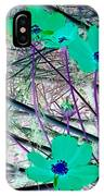 Abstract Flowrs In Green And Blue IPhone Case