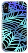 Abstract Leaves Black Aqua IPhone Case
