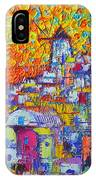 Abstract Santorini Oia Sunset Floral Sky Impressionist Palette Knife Painting  Ana Maria Edulescu IPhone Case