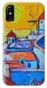 Abstract Santorini Sunset Oia Windmills  IPhone Case