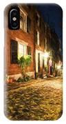 Acorn Street Autumn Boston Mass Painterly IPhone Case