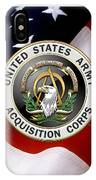 Acquisition Corps - A A C Branch Insignia Over U. S. Flag IPhone Case