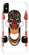 African Motive Background With Ornament Details And Spears  IPhone Case