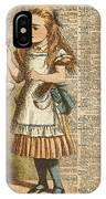 Alice In Wonderland Drink Me Vintage Dictionary Art Illustration IPhone Case