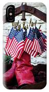 All American Flag And Red Boots - Painterly IPhone Case