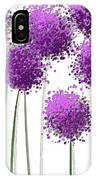 Alliums Flower Art - Purple And Gray Art IPhone Case by Lourry Legarde